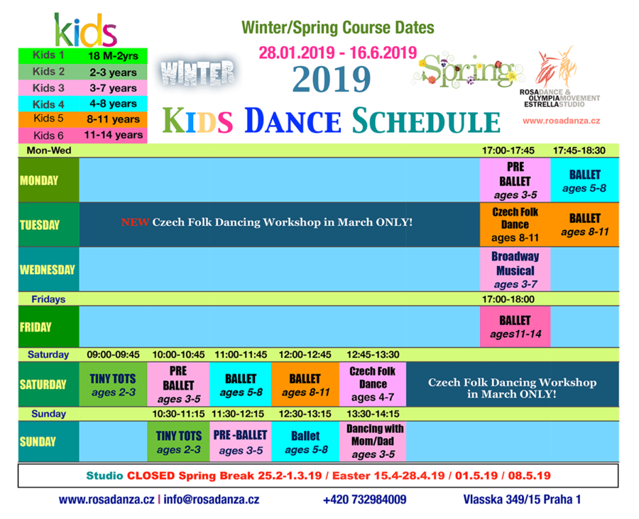 Winter and Spring 2019 Kids Dance Schedule