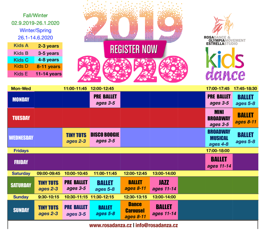 2019 and 2020 Kids Dance Schedule