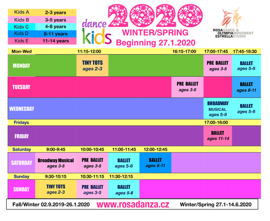 Kids Winter and Spring 2020 Schedule
