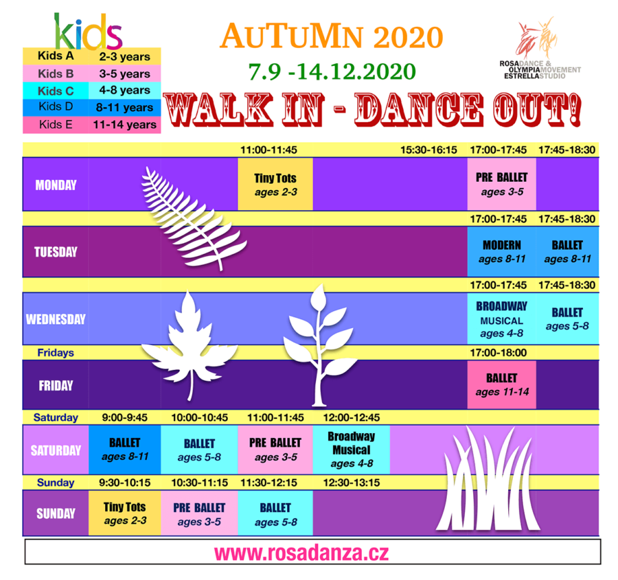 Kids Autumn 2020 Schedule